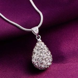Jewelry - Silver Rhinestone Pear Shaped 925 Necklace